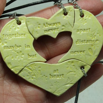 Friendship necklaces set of 4 puzzle pieces with friendship quote Always together Aromatherapy Yellow H37