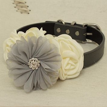 Ivory Gray Rhinestone flower attach to Gray Ivory, White, black, brown, Pink or Champagne leather collar, Gray beaded flower collar