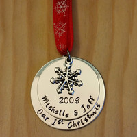 Hand Stamped Our First Christmas Ornament  - Couples Christmas Ornament - First Christmas Together Christmas Ornament