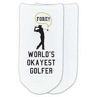 Funny Golf Socks: World's Okayest Golfer - No-Show Socks by Sockprints