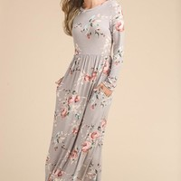 Floral Long Sleeve Maxi Dress - Taupe
