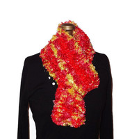 Handmade Knitted Pink, Yellow and Red Fuzzy Scarf