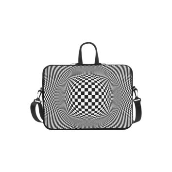 Personalized Laptop Shoulder Bag Optical Illusion Checkers Handbags 13 Inch
