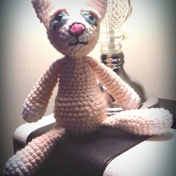 crochet pink cat doll, cotton rag doll, OOAK, scented, eco-friendly, amigurumi animal plush, chamomile, wool stuffed
