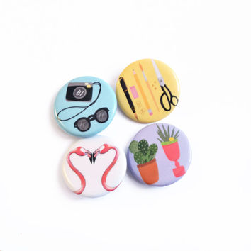 Cacti, Camera, Flamingo, Stationery Button Pins, Button badge set