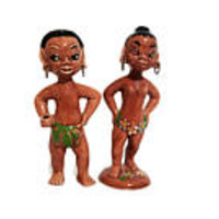 Gilner Pottery Island Figurines Set of Two Hawaiian Polynesian Grass Skirts Loin Cloths Statues