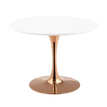 "Lippa 40"" Round Dining Table Rose Gold / White"