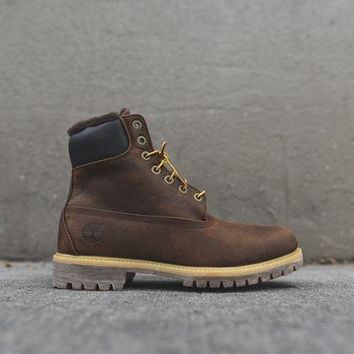 MDIGH31 Timberland Heritage 6' Shearling Construct Boot - Dark Brown