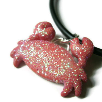 """Crab Necklace, Red Glitter Coating, Acrylic, 21"""" Black Silicone Cord"""
