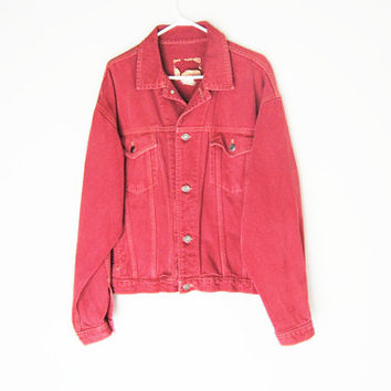 Vintage Red Denim Jacket, 90s Oversized Jean Jacket, The Gap Faded Denim Grunge Unisex Large