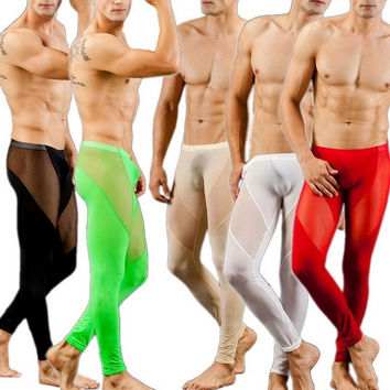 New Sexy Men Stitching Tight Leggings Thermal Underwear Long Pants M2061 = 1705487300