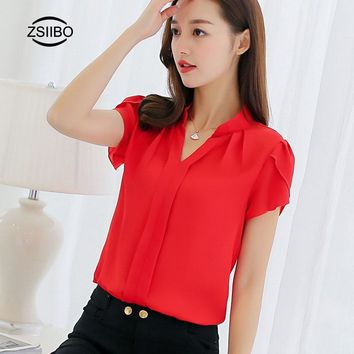 Wintage Chiffon Blouse Shirts Women Stylish V-neck petal sleeve Work Clothing For OL Casual Breathable Female Top vetement femme