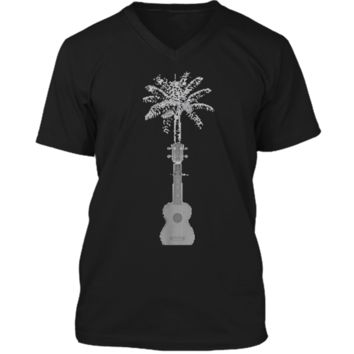 Funny Palm Tree Ukulele Shirt Beach Music Lover Cool T-shirt Mens Printed V-Neck T
