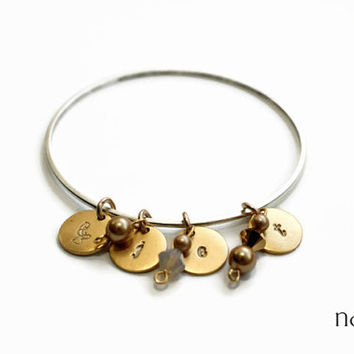 Antique Gold and Silver Mother's/Grandmother's Bangle Bracelet - Antique gold charms, hand stamped