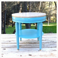 Round Side Table End Table Marble Occasional Table Blue Wood Round Base Bright Vibrant Beach House Coffee Entryway Coastal Living Coast