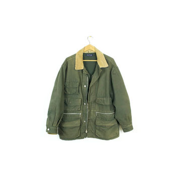NAUTICA hunting jacket / green canvas corduroy / army military / workwear chore coat / outdoors / mens large
