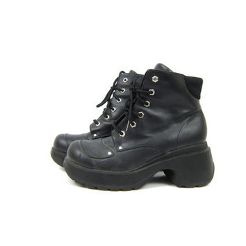 vintage 1990s Black Boots chunky platform High Ankle boots Lace Up Goth Grunge Tie Boots women's Size 10