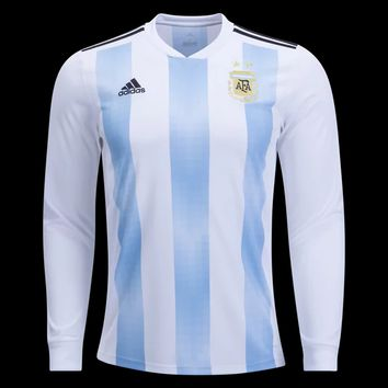 KUYOU Argentina 2018 World Cup Home Men Long Sleeve Soccer Jersey Personalized Name and Number