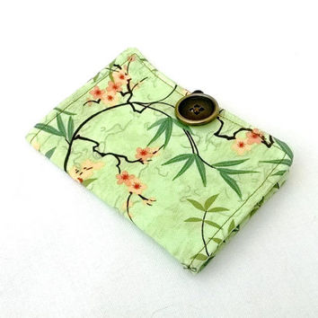 Vines and Blossoms Tea Wallet - Tea Bag Wallet Japan Asian Green Cherry Blossoms Cranes