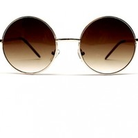 grinderPUNCH Round Circle Vintage Retro Metal Sunglasses Unisex (gold - brown lens, uv400)
