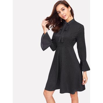 Black And White Tie Neck Bell Cuff Polka Dot Dress
