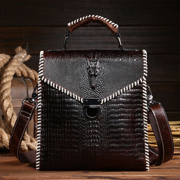 High Quality Women Genuine Leather Handbag Alligator Pattern Female Business Shoulder Bag Vintage Retro Lady Messenger Flap Bag