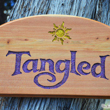 TANGLED Sign with the Magical Sun Symbol, Rapunzel, Flynn Rider, Disney Princess Room Nursery, Hand Carved Wood,