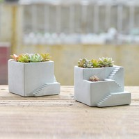Creative stairs cement succulent plants silicone mold clay crafts home decoration building concrete planter vase molds