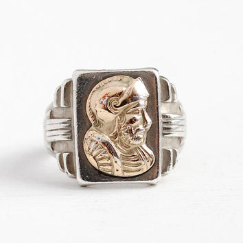 Vintage Cameo Ring - Sterling Silver & Rose Gold Accent Men's Warrior Soldier Ring - Size 7 3/4 Art Deco 1930s Statement Two Tone Jewelry