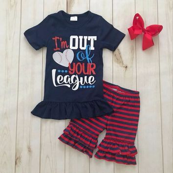 2018 ruffle baseball shirts outfits girls boutique summer set baby girl boutique clothing sets with headbow