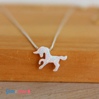 Unicorn Necklace / White Opal Unicorn Pendant / Opal Choker / Tiny Unicorn Jewelry / Opal Necklace / Sterling Silver Choker Animal Necklace