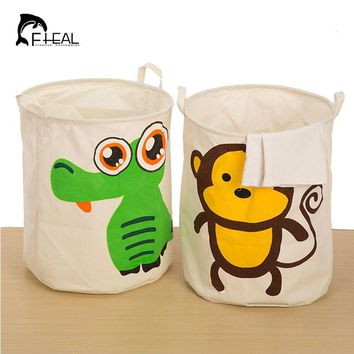 FHEAL Unique Foldable Cotton Linen Cartoon Washing Clothes Laundry Basket Bag Hamper Storage