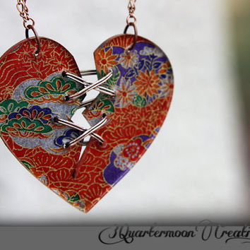 Ex Marks The Origami Heart - Acrylic Laser Cut Broken and Mended Heart Statement Necklace