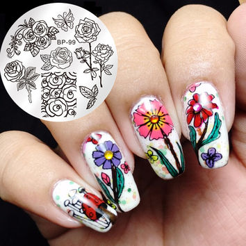 Popular 1 Pc BORN PRETTY Round 5.5cm Nail Art Stamp Template Butterfly Flower Rose Design Image Stamping Plate BP-99 Nail DIY