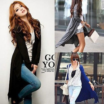 Womens Casual Long Sleeve Cardigan Knit Knitwear Sweater Coat Long Wraps Outwear