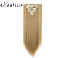 "S-noilite 24"" 8 Pieces/set Long Striaght 180g Clip in on Natural Hair Extensions Full Head Real Synthetic 18 Clips ins for human"