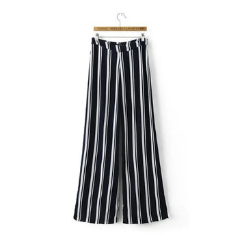 Women's Fashion Summer Zippers Stripes Slim Pants