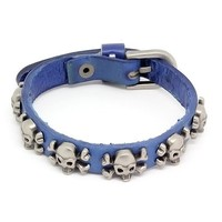Top Value Jewelry - Mens Dark Blue Leather Biker Bracelet with Vintage Silver Plated Skull and Cross Bones - Like Love Buy