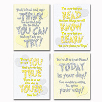 Neutral gender Baby room wall art nursery decor Dr Seuss Quotes kids artwork motivational print inspirational poster boy girl yellow grey
