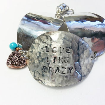 Spoon bracelet, stamped spoon jewelry, love like crazy bracelet, stamped, silverware jewelry,