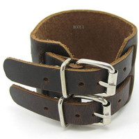 Dark Brown Leather Cuff Bracelet With Double Buckles Adjustable B003-1