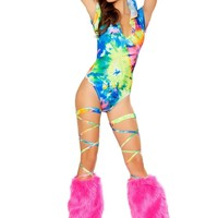 Roma Rave 3289 - Printed Hooded Romper