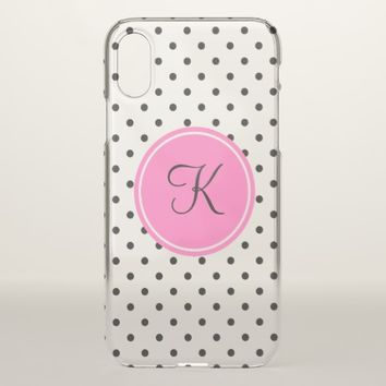 Monogram Black and White Polka Dot with Hot Pink iPhone X Case