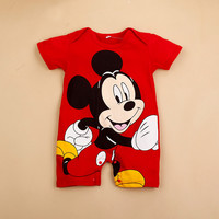 Baby Boys Rompers Infant Jumpsuits Mickey Baby Clothes Summer Short Sleeve Cotton Kids Overalls Newborn Baby Girls Clothing