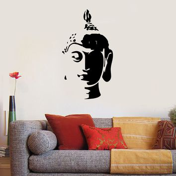 Wall Decal Buddha Head Buddhism Oriental Buddhist Relaxation Decor Unique Gift (z2655)