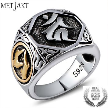 MetJakt Vintage Thai Silver Sanskrit Rings Solid S925 Sterling Silver Ring for Men's Jewelry Thai Craftsman Hand Carving