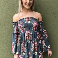 Garden Of Love Dress- Teal Multi