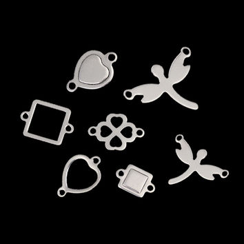 20pcs Silver Color Stainless Steel Hollow Oval Square Heart Charms Pendants Connectors Blanks Stamping Tags for DIY Bracelets
