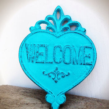 Ornate Heart Welcome Sign Wall Art - Seaside Aqua Teal Blue - Shabby Chic Outdoor Decor