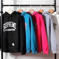 SUPREME Long Sleeve Letters Printed Hooded Sweater